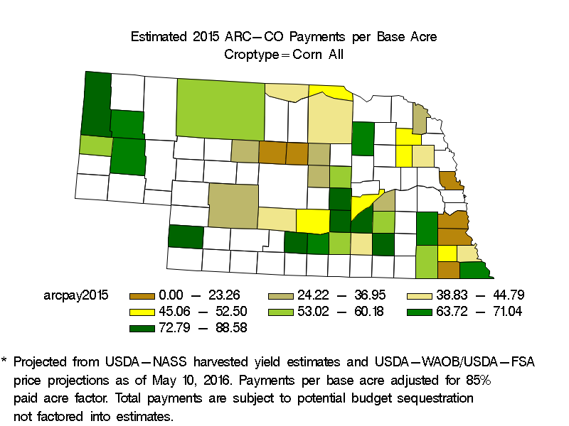 Estimated 2015 ARC-CO Payments for All Corn Counties in Nebraska