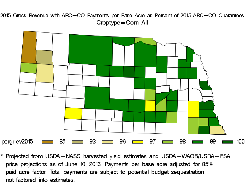 Estimated 2015 Gross Revenue Per Acre with Crop Revenue and ARC-CO Payments for All Corn Counties in Nebraska