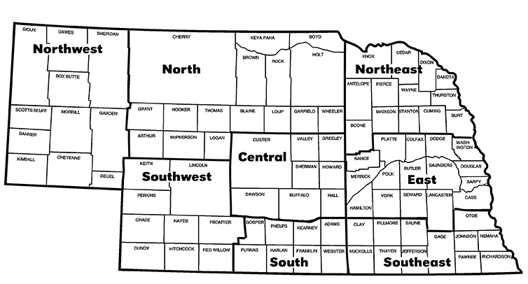 Map depicting the districts