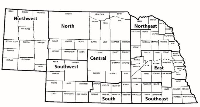 map of nebraska ag statistic districts