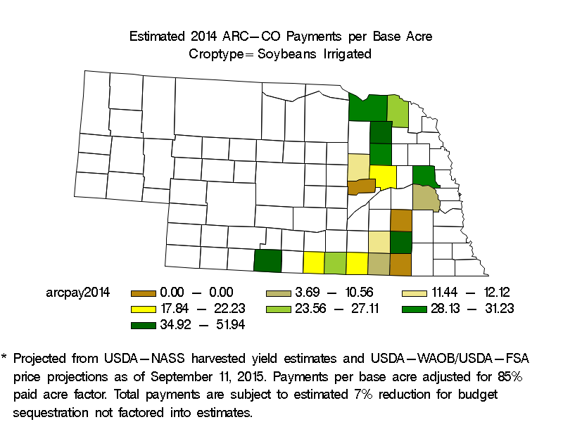 ARC-CO Payments per Base Acre Irrigated Soybeans