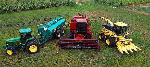 Three types of agricultural equipment
