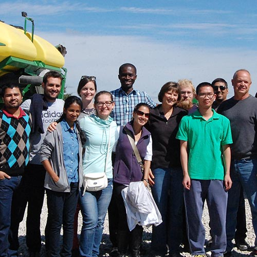 Graduate students touring a Nebraska farm
