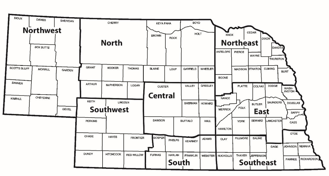 Map of Nebraska Agricultural Statistics Districts
